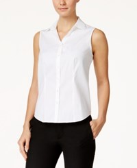 Charter Club Petite Sleeveless Shirt Only At Macy's Bright White