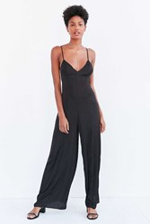 Silence And Noise Kali Satin Wide Leg Jumpsuit Black