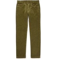 Massimo Alba Alunga Cotton Velvet Trousers Green