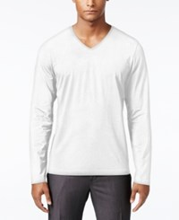 Inc International Concepts Men's Dressy V Neck T Shirt Only At Macy's White Pure