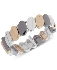 Nine West Tri Tone Oval Disk Stretch Bracelet Multi