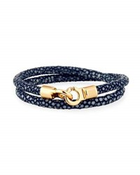 Brace Humanity Men's Stingray Wrap Bracelet Navy Golden