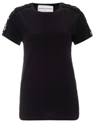 Michaela Buerger Black Cotton Crochet Lana T Shirt