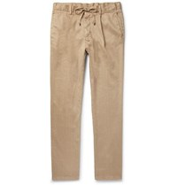 Beams F Slim Fit Tapered Pleated Linen Blend Twill Drawstring Trousers Beige