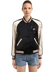 Coach Reversible Satin And Crepe Bomber Jacket Multicolor