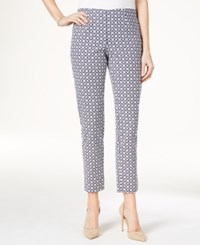 Charter Club Iconic Print Side Zip Slim Ankle Pant Only At Macy's Intrepid Blue Combo