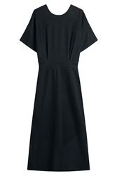 Jil Sander Virgin Wool Midi Dress Blue