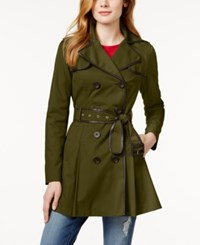 Bcbgeneration Faux Leather Trim Skirted Trench Coat