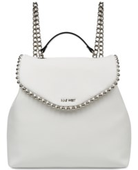 Nine West Aveline Chain Strap Backpack White Silver