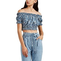 Ulla Johnson Ash Batik Inspired Cotton Off The Shoulder Crop Top Blue