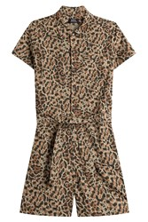 A.P.C. Cotton Animal Print Playsuit Animal Prints