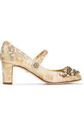 Dolce And Gabbana Embellished Metallic Brocade Mary Jane Pumps Gold