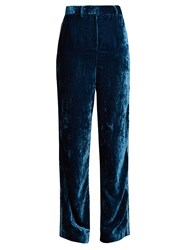 Jupe By Jackie Moritz Embroidered Silk Velvet Trousers Mid Blue