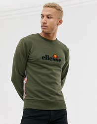 Ellesse Mexicali Sweat With Taping In Khaki Green