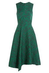 Jason Wu Herringbone Cloque Sleeveless Cocktail Dress Green