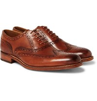 Grenson Dylan Burnished Leather Wingtip Brogues Tan