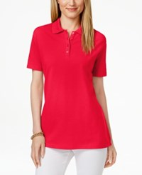 Karen Scott Short Sleeve Polo Top Only At Macy's New Red Amore