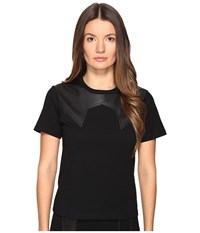 Neil Barrett Minimal Cowboy Jersey Eco Leather Black Women's T Shirt