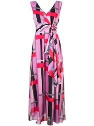 Josie Natori Taisho Stripe Maxi Dress Pink