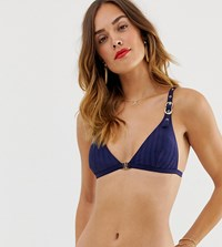 River Island Triangle Bikini Top With Buckle Detail In Navy