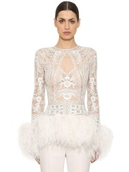 Zuhair Murad Embellished Sheer Top With Feather Trim White