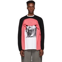Comme Des Garcons Homme Plus Black And Pink Wool Double Sleeve Sweater