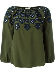 Tory Burch Embellished Neck Blouse Green