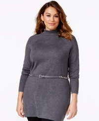 Inc International Concepts Plus Size Mock Turtleneck Belted Tunic Sweater Only At Macy's Grey