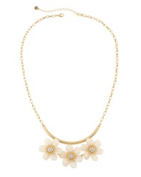 Lydell Nyc Golden Crystal Flower Statement Necklace Women's
