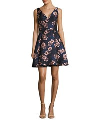 Betsey Johnson Sleeveless Floral Jacquard Fit And Flare Dress
