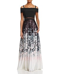 Aqua Floral Ombre Gown 100 Bloomingdale's Exclusive Black Pink
