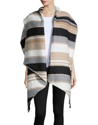 Collection 18 Striped Wrap Scarf Grey