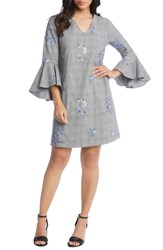 Karen Kane Embroidered Bell Sleeve Dress Plaid
