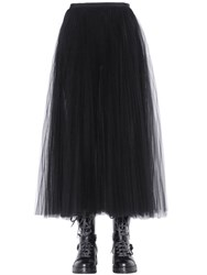 Valentino Pleated And Layered Tulle Midi Skirt