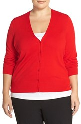 Plus Size Women's Sejour V Neck Cardigan Red Bloom