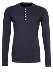 Knowledge Cotton Apparel Henley Long Sleeved Top Navy Dark Blue