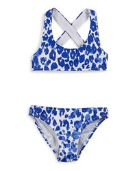 Milly Minis Shimmer Cheetah Cross Back Swimsuit Set Lapis Size 8 14 Girl's Size 10