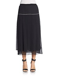 Aquilano Rimondi Pleated Chiffon Midi Skirt Black