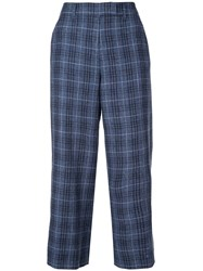 Veronica Beard Check Print Cropped Trousers Blue