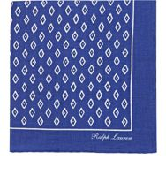 Ralph Lauren Purple Label Men's Rustic Diamond Print Pocket Square Blu Blue