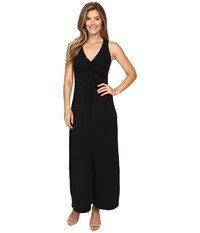 Mod O Doc Cotton Modal Spandex Jersey Shirred Front V Neck Maxi Dress Black Women's Dress