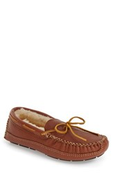 Men's Minnetonka Genuine Shearling Lined Leather Slipper