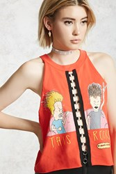 Forever 21 Beavis And Butthead Graphic Tank Tomato Black