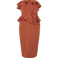 River Island Rust Orange Frill Strapless Bodycon Dress