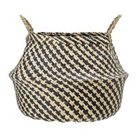 Bloomingville Round Seagrass Basket With Handles Natural Black