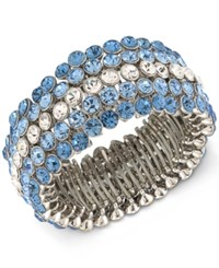 Carolee Silver Tone Blue And Clear Crystal Stretch Bracelet Md Multi