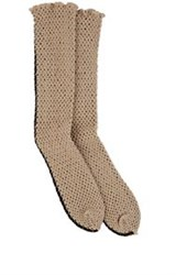 Antipast Crochet Fishnet Mid Calf Socks Nude