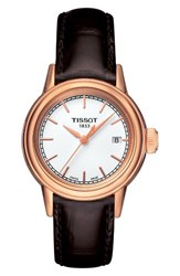 Tissot Women's Carson Leather Strap Watch 28Mm Brown White Rose Gold
