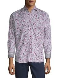 Bertigo Graphic Cotton Button Down Shirt Pink