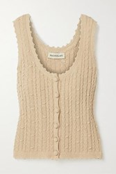 Nicholas Sheila Cropped Cable Knit Cotton Blend Tank Beige